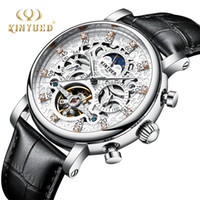 Wholesale watches classic tourbillon online - KINYUED Classic Skeleton Watch Men Automatic Tourbillon Mens Mechanical Wristwatch Leather Moon Phase Calendar Male Clock S917