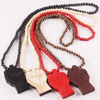 Wholesale fist pendant - Wholesales 4 Colors Fist Shaped Wood Beads Pendant Hip Hop Jewelry Designer Jewelry Sliver Choker Beads Mens Necklace Mens Chain