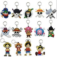 Wholesale Monkey Hangs - New One Piece Mini Figures Keychain Plastic PVC Pirate Monkey D Luffy Keychain Key Rings Bag Hangs Fashion Accessories 170888