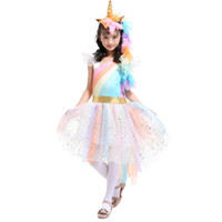 Wholesale angels ribbons - 4-7T Girls Rainbow Dress with Unicorn Headband + Angel Wings Lace Tutu Girls Princess Dress Suits Cosplay Clothing Sets TIANGELTG
