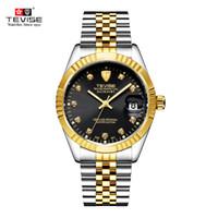 relojes de marca tevise al por mayor-TEVISE marca reloj hombres mujeres semiautomático relojes moda reloj mecánico de lujo a prueba de agua luminoso deporte Casual reloj de pulsera S923