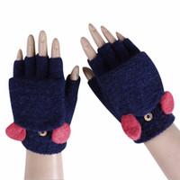 luvas de algodão tricotadas sem dedos venda por atacado-Algodão inverno Grosso Quente Malha Fingerless Flip Top Luvas Para As Mulheres Metade do Dedo Luvas Luvas Sólidas Femininos Guantes Mujer