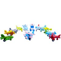 Wholesale Toy Helicopters Yellow Plastic - 12pcs Mini Model Plane Children Learning Education Toy Multi Color Wooden Aircraft Modle Toys Hot Sale 47 5pd W
