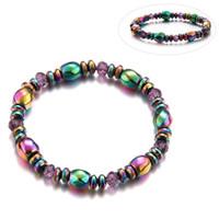 armband magnetischen charme großhandel-Liebhaber-Schönheits-bunte verdrehte Hämatit-Gesundheits-Armband-Schmucksache-magnetische Armband-Charme-Armbänder für Frauen-Gewichts-Verlust