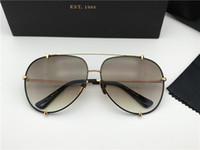 schwarze vintage quadratische brille großhandel-Männer / Frau Square Gold / Schwarz Sonnenbrille Luxus Sonnenbrille gafas de sol Designer Sonnenbrille Vintage Brille Neu mit Box DNUM180721-10