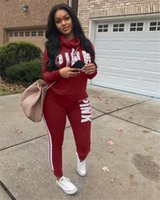 Wholesale tight long sleeves sweater - Pink Letter Women Tracksuits Ladies Hoodie Pants Set Letters Print Round Neckline Zipper Sweater Tight Suit Y3 Yeezus Red Black Purple S-3XL