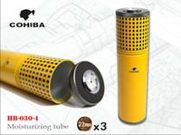 cohiba sigaraları toptan satış-Ücretsiz Kargo COHIBA Gümüş Taşınabilir Seyahat Metal Puro Kavanoz Tüp Nemlendirici Higrometre Sigara Puro Kılıfı ile Neme