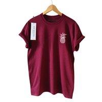 flügelhülsen-artt-shirts großhandel-Neue Sommer T-Shirt kurzen Ärmeln Ananas gedruckt grundlegende Frauen T-shirt süße adrette Kleidung S-3XL Größe