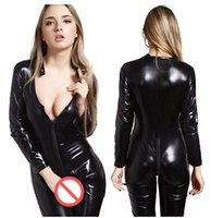 Wholesale catwoman costumes sexy - Gothic Women Faux Leather Catsuit Sexy Deep V-neck Zipper Front Bodysuit Long Sleeve Bandage Jumpsuit Catwoman Cosplay Costume