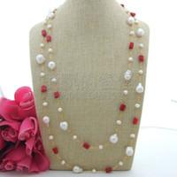natürliche perle korallen halskette großhandel-N062209 Natürliche 64