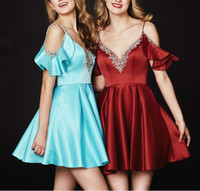 Wholesale sequin beaded satin ball online - Newest Spaghetti Straps Beads Homecoming Dresses Backless Juniors Capped Cocktails Short Prom Dress Party Ball Gowns Graduation Club Wear