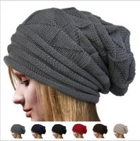 tığ işi şalvarlık şapka toptan satış-Unisex Erkek Kadın Örgü Baggy Beanie Kış Şapka Kayak Hımbıl moda örgü tığ katı sıcak baggy bere şapka boy slouch beanies KKA6129