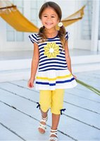 Wholesale fit for baby - New fashion summer toddler baby kids girls clothes striped marguerite flower top T-shirt + pants outfits 2pcs set fit for kids 2-8T
