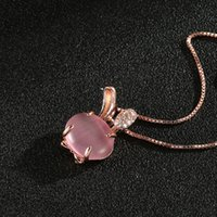 Wholesale Crystal Rose Pendant - Korean version of the necklace plated rose gold natural hibiscus crystal rabbit female models pendant clavicle chain jewelry