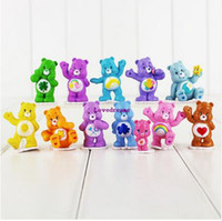 Wholesale mini figures phone for sale - Group buy 12 set Anime Care Bears Mini PVC Action Figures Toys cm Collectible Colorful Bears Model Dolls for Kids Phone Accessories