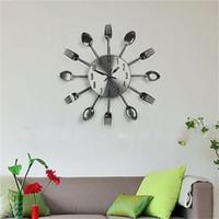 wanduhr gabel groihandel-Besteck Uhren Modern Küche Wohnzimmer-Wand-Löffel-Gabel-Messer-Taktgeber-Mechanismus Design Haus-Dekor-Kunst-heißen Verkaufs-21hr V