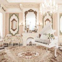 buz düğün zeminleri toptan satış-İç Oda Avrupa Tarzı Dekorasyon Düğün Fotoğrafçılığı Arka Planında Baskılı Tuvalet Masası Avize Piyano Fotoğraf Arka Stüdyo için