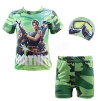 Wholesale kids swimwear - 50pcs Fortnite Kids Swimwear Letter Teenage Swim shirt Trunks Shorts and Cap Swimsuit Cosplay MMA242