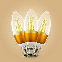 led ışıklar ampuller toptan satış-5 W LED Lamba E14 E27 Mum Ampul Kristal Lamba Avize Için Yüksek Parlak Temizle Cam