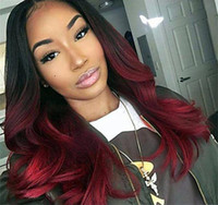 Wholesale red wine ombre hair for sale - Group buy Two Tone Ombre Burgundy Full Lace Human Hair Wigs T1b j Loose Wavy Peruvian Virgin Hair Wine Red Glueless Lace Front Wigs
