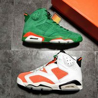 Wholesale Retro Towels - Top Air Retro 6S Gatorade Green Suede Shoes Men Red Carmine White Sneakers With OG Box and Towel 41-47.5