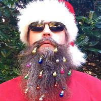 bulbos de ornamento venda por atacado-12 pçs / set Barba Enfeites de Natal Sinos de Barba Papai Noel Barba Clipe Lâmpadas + Vibrante Anel Sinos