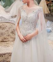 ingrosso porcellana dell'abito di cerimonia nuziale di qualità-Abito da sposa in pizzo con abito lungo staccabile a vio lungo abito da sposa di alta qualità
