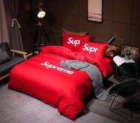 edredón de marca al por mayor-Hot Brand S Logo Print Juego de cama de lujo Hojas en forma de ropa de cama Funda nórdica Juego de fundas de almohadas Doble King Queen de alta calidad