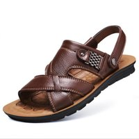 Wholesale Soft Production - 2018 Production and sales new summer men's fashion sandals men Genuine leather Leisure slippers beach shoes men's outdoor sandals