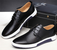 Wholesale British Sneakers - British Men Casual Genuine Leather Shoes Lace-up Sneakers Oxford Breathable New