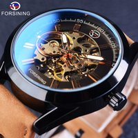 Wholesale analog wrist watch waterproof mechanical - Forsining 2018 Casual Sport Series Waterproof Automatic Men Wrist Watch Top Brand Luxury Mechanical Transparent Skeleton Watches