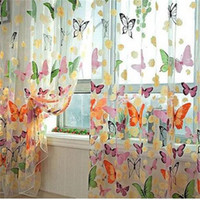 kapı perdeleri kelebek toptan satış-Romantik Kelebek Şeffaf Perdeleri Tül 1x2 m Kanatlı Ve Kapı Sırf Perdeleri
