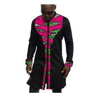 patrones de batik africano al por mayor-Vestido de hombre de moda, África africana, patrón festivo, camisas de manga larga, hombres, estampado de moda y camisas negras, ropa africana para hombres