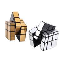 aprender bloques de rompecabezas al por mayor-Shengshou Cube 3x3x3 Plata Espejo Bloques Espejo Superficie Puzzle Cubos mágicos Learningeducational Cubo Magico Juguetes para niños