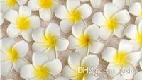 Wholesale Hawaiian Plumeria Flower - Wholesale 100Pcs lot 7cm Plumeria Hawaiian Foam Flower For Wedding Party Hair Clip Flower bouquet Decoration