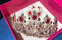 Wholesale baroque wedding dresses resale online - Korean bride wedding Baroque red crystal water drill head ornaments earring wedding dress accessories
