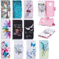 Wholesale painting holder stand resale online - Animal Owl Flower Painted Stand Flip Leather Wallet Card Holder Case for Samsung S8 S9 PLUS S7 A3 A5 J330 J530 J730