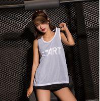 Wholesale Mesh Gym Tank - women mesh yoga vext double Sleeveless Tank Tops Women Fitness Shirts Woman Sport Clothes Gym Clothing Sports Vest LJJK937
