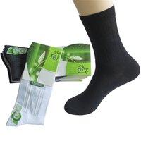 fabrika bambu pamuğu toptan satış-6 Çift / grup erkek Çorapları Fabrika Fiyat Anti-Bakteri Anti-koku Bambu Elyaf Erkek Kısa Çorap Düz Renk Siyah Pamuk Çorap Meias