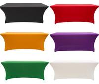 manteles para eventos al por mayor-Lycra elástica Mantel Rectangular Ajustado Estiramiento Spandex Cubierta de Tabla de Boda o Evento Hotel Decoración de Fiesta