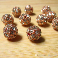 Wholesale Disco Ball Metals - 20PCS Rose Gold Metal Shamballa Bracelet Pave Disco Ball Loose Charms Metal Rhinestone Beads Spacer Findings Fashion Jewelry D530