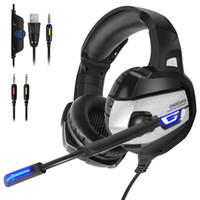 ps4 stereo kulaklık toptan satış-ONIKUMA K5 Gaming Headset Gamer Stereo Derin Bas LED PC PC Dizüstü Bilgisayar PS4 için Oyun Kulaklıklar Mikrofon ile
