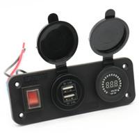 ingrosso voltmetro del caricatore dell'automobile del usb-Caricabatterie Voltmetro impermeabile LED Dual USB Charger Caricabatterie da auto per auto DC12V con borsa Opp