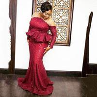 rotes kleid großhandel-Plus Size Dark Red Mermaid Abendkleider Langarm Sheer Neck Sweep Zug Pailletten Afrika Formale Frauen Prom Party Kleider Vestidos De Fiesta