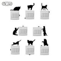 ingrosso adesivi da parete per interruttori per gatti-TIE LER 8 PCS Moda Cartoon Cat And Mouse Window Wall Decorating Switch Sticker Decalcomania del vinile Decor Room