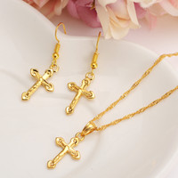 Wholesale Girls Necklace Sets - HOT Special Design Christian Vogue True Real 14K Solid Fine Yellow Gold Filled Crucifix Cross Timeless Charm Earrings Pendant Chain Set
