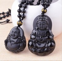 Wholesale jade guanyin pendant - Natural Obsidian Guanyin Buddha Pendant Men's Wear Guanyin Women's Dai Buddha Couple Necklace National Wind Wholesalev
