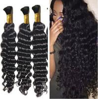 Wholesale deep wave malaysian braiding hair resale online - top quality Brazilian Hair g Human Hair Braids Bulk Deep Wave No Weft Wet And Wavy Deep Wave Micro mini Braiding Bulk Hair