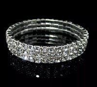 Wholesale row rings - Rows 3 Tennis Bracelet Elegant Stretch Bridal Bangle Silver Rhinestones Cute Prom Homecoming Wedding Party Evening Jewelry Bracelet