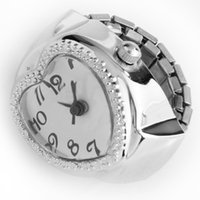 relógio de coração prateado venda por atacado-YCYS-Silver Tone Quartz Coração Pocket Ring Finger Watch